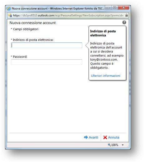 office365 - account connessi - compila impostazioni