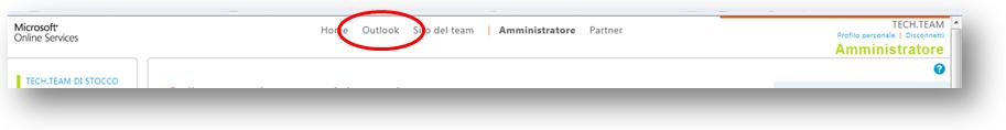 dopo l'accesso ad office365 clicca su Outlook